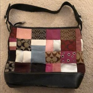 Used women's coach bag with patchwork